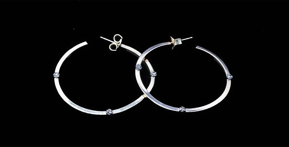 14K Hoop Earrings with Diamond Accents