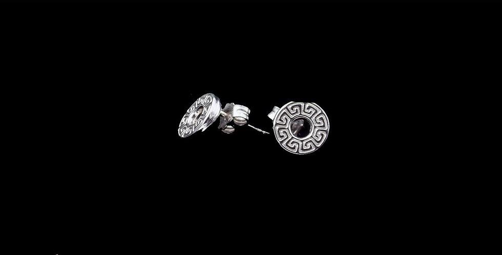 14K White Gold Greek Key Circular Design Earrings