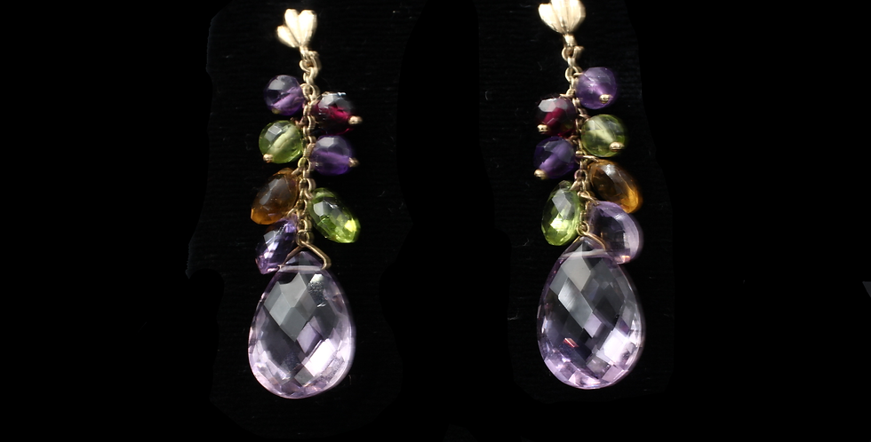 14K Amethyst, Peridot, Garnet and Citrine Briolette Earrings