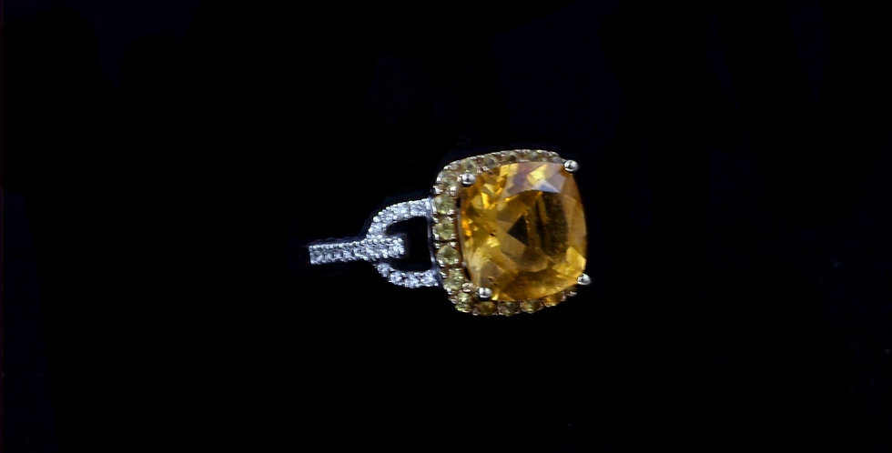 14K Citrine, Golden Sapphire and Diamond Ring