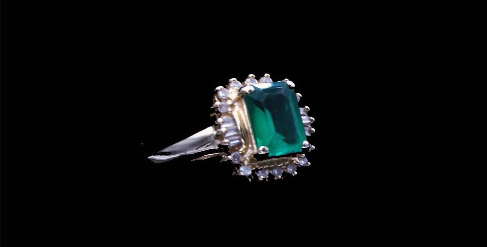 14K Synthetic Emerald and Diamond Ring
