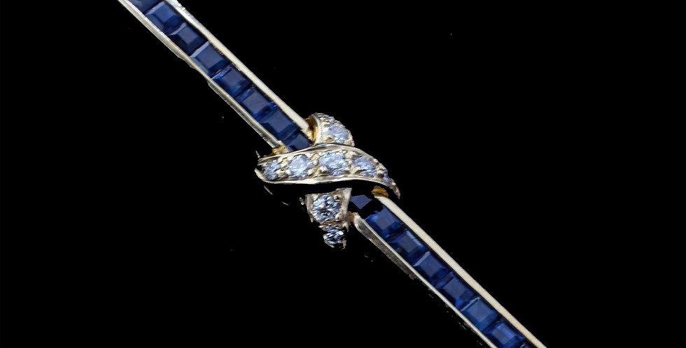 14K Sapphire and Diamond Brooch