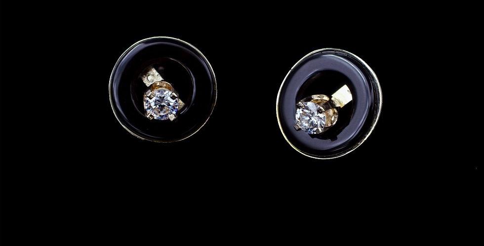 14K Cubic Zirconia Earrings & Onyx Jackets