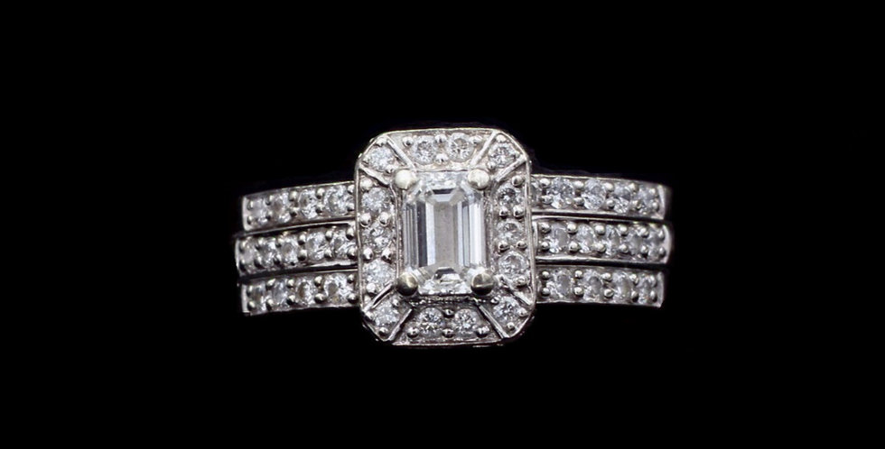 14K .35ct Emerald Cut Diamond Plus Band