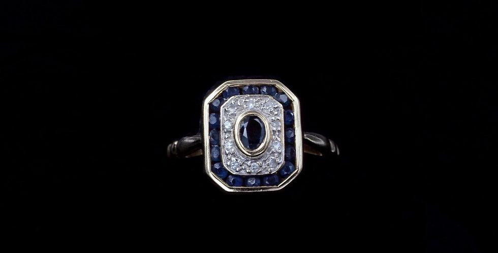 10K Blue Sapphire & Diamond Ring