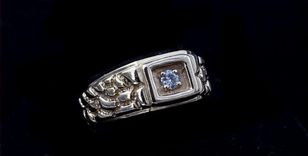 14K Yellow Gold .10 Carat Diamond Nugget Style Ring