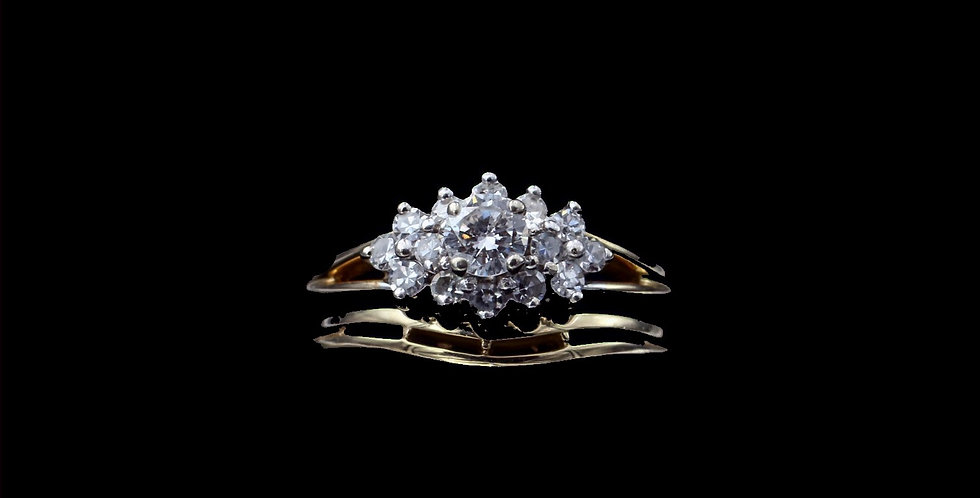 14K Yellow Gold .50 Carat Total Weight Diamond Cluster Ring Set
