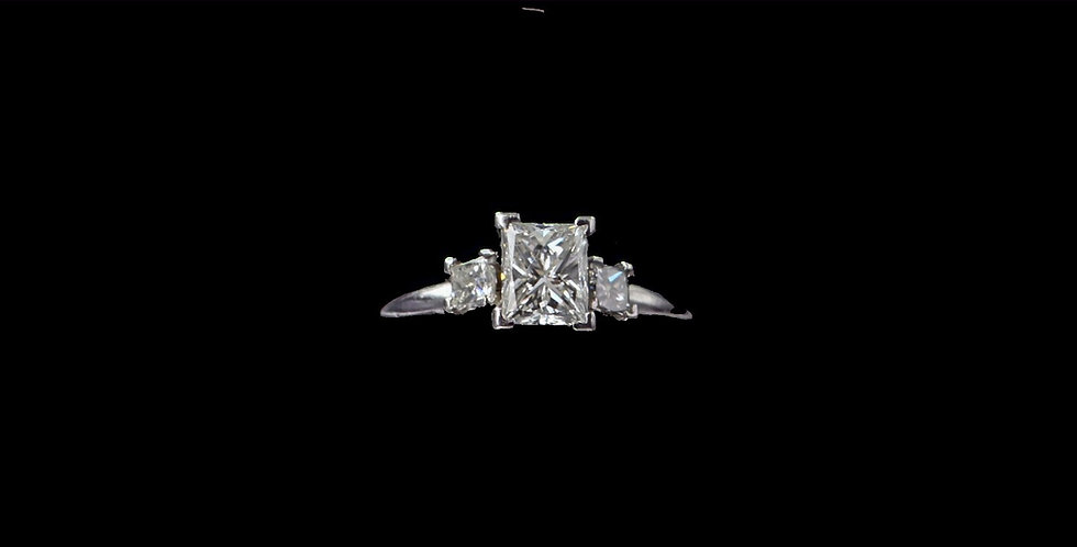 Platinum 1.00 Carat & .30 Carat Diamond Ring