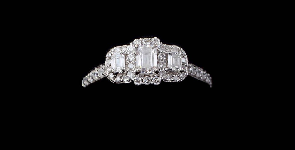 14K 1.00ct twt. Emerald Cut Diamond Ring