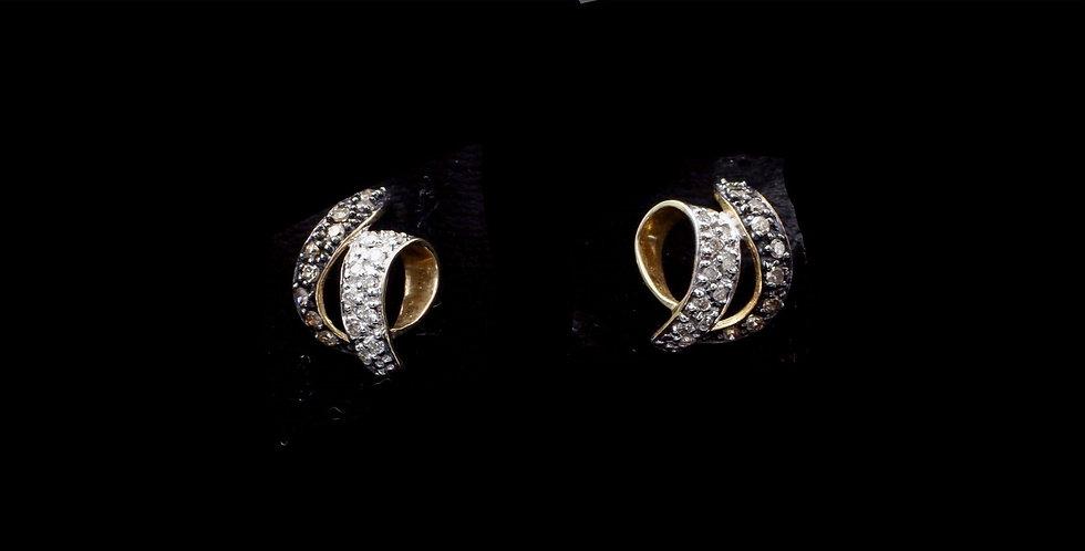 14K Champagne & Colorless Diamond Earrings
