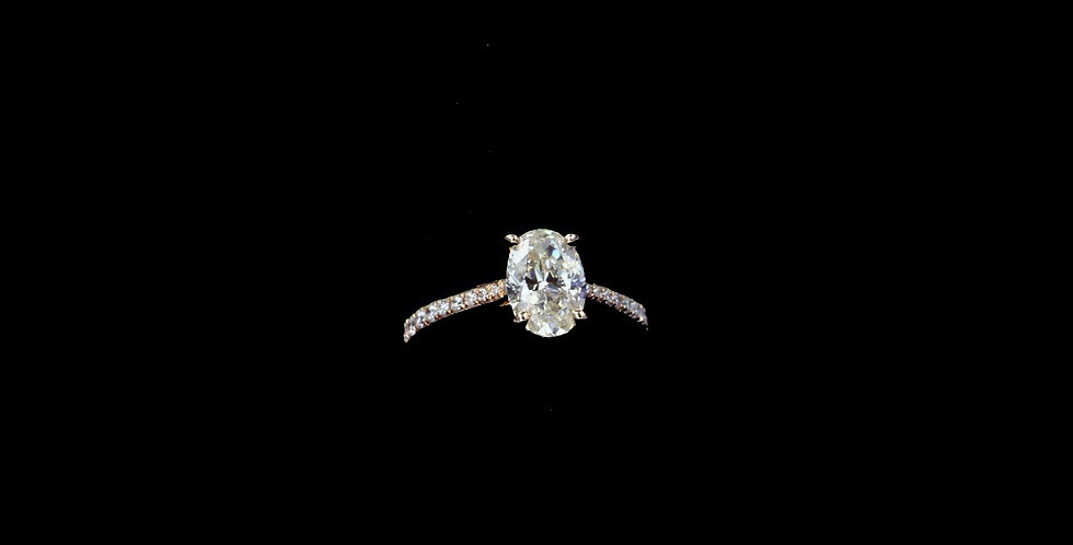 14K Rose Gold 1.09 Carat Oval Cut Diamond Ring