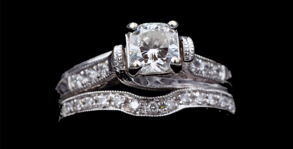 14K White Gold .77 Carat Cushion Cut Diamond Wedding Set
