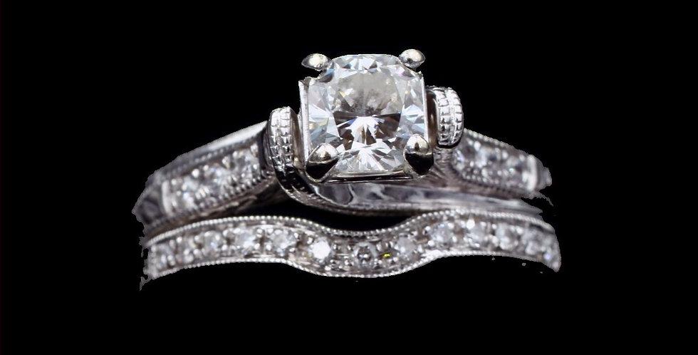 14K White Gold .77 Carat Cushion Cut Diamond Wedding Set