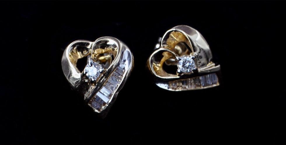 14K Heart Diamond Earrings