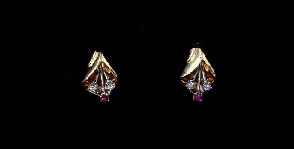 1K Yellow Gold Ruby Diamond Earrings