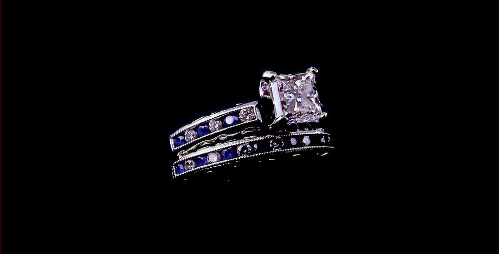 14K Sapphire & Diamond Wedding Set