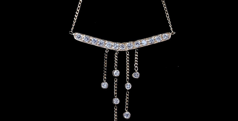 14k Yellow old .75 Carat Total Weight Diamond Necklace