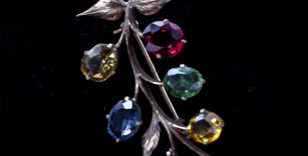 14k Vintage Yellow Gold Assorted Colored Stones Brooch