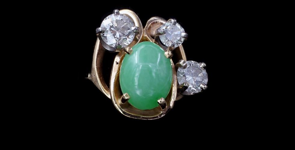 14K Vintage Jade & Diamond Ring