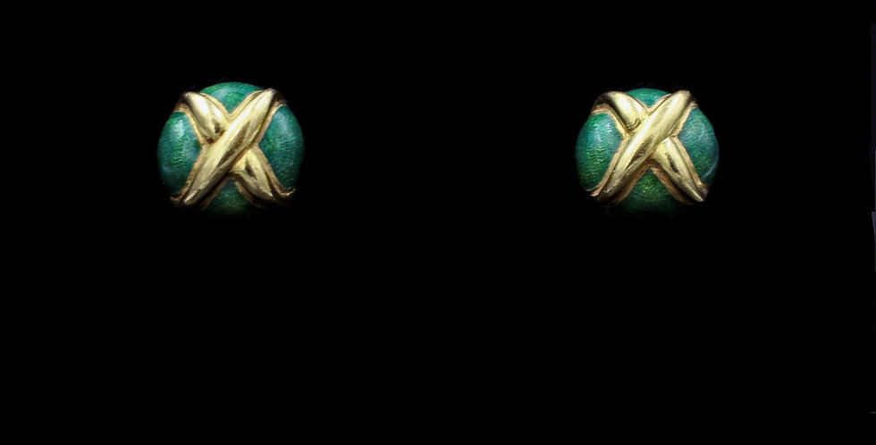 18K Tiffany Enamel Earrings Schlumberger Design