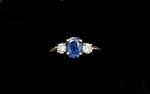 14K 1.00ct Sapphire & .30ct Diamond Ring