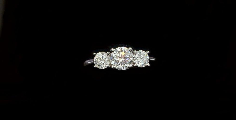 14K .82 & .60ct Diamond Three Stone Ring