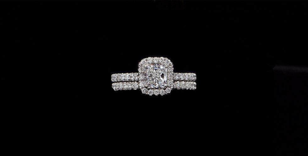14K 1.00ct Radiant & 1.00ct side Diamond Wedding Set