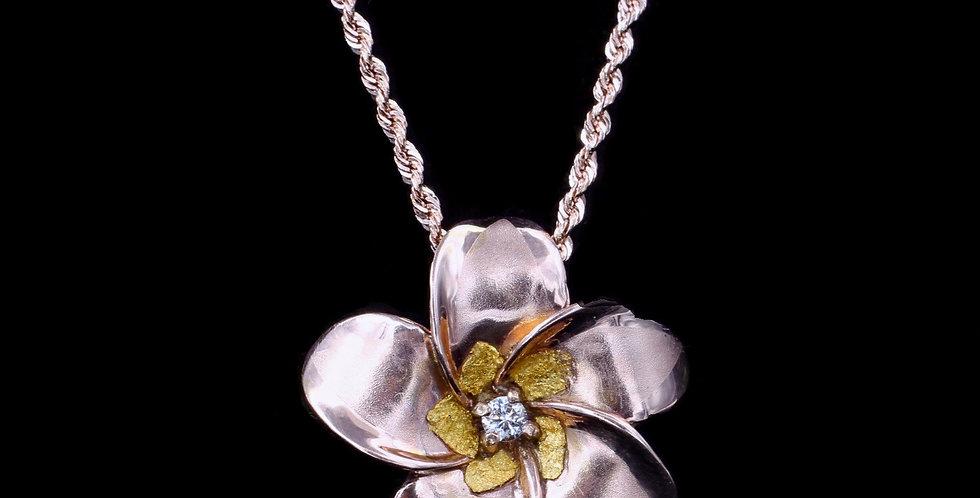 14K Rose Gold Plumeria Necklace