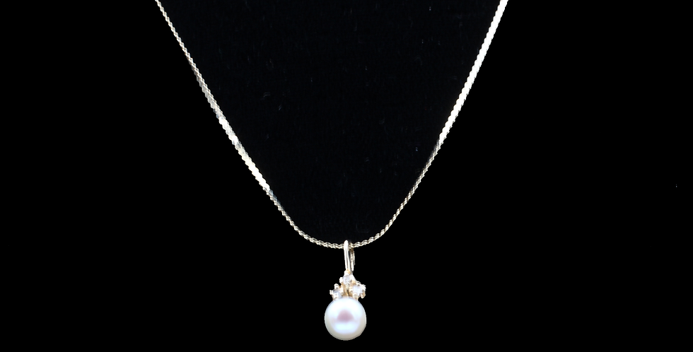 14K Yellow Gold Vintage Saltwater Pearl Necklace