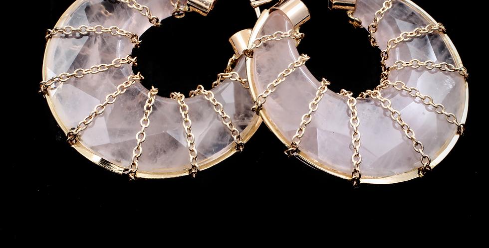 14K Rose Quartz Hoop Earrings