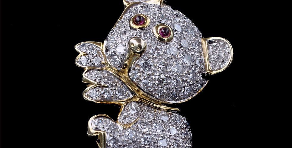 14K White Gold Diamond Bear/Dog  Pendant