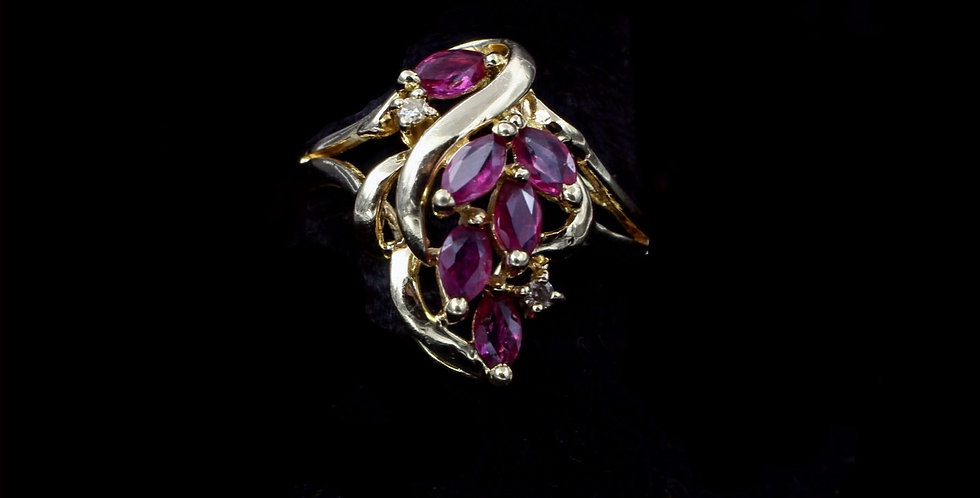 14K Ruby & Diamond Cluster Ring