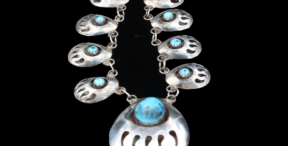 Sterling Silver Bear Claw Turquoise Necklace