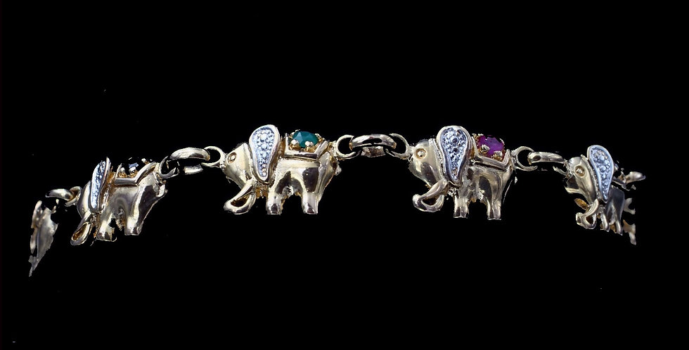 14K Elephant Bracelet with Ruby, Emerald, Sapphire and Diamond Accents