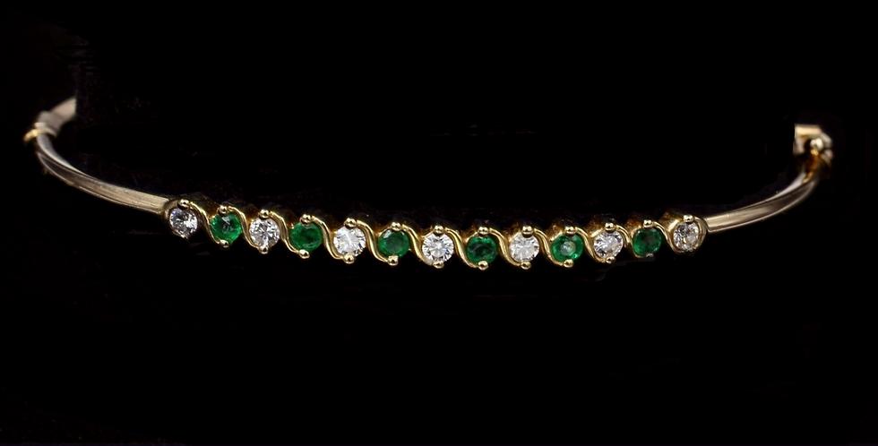 14K Vintage Emerald & Diamond Bracelet