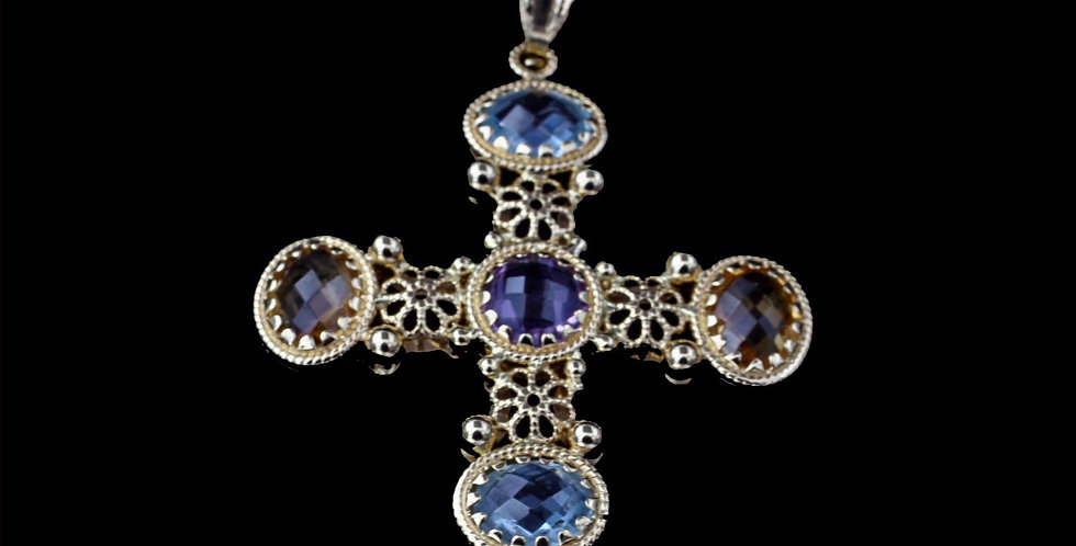 18K Yellow Gold Italian Amethyst, Blue Topaz, Peridot & Citrine Cross