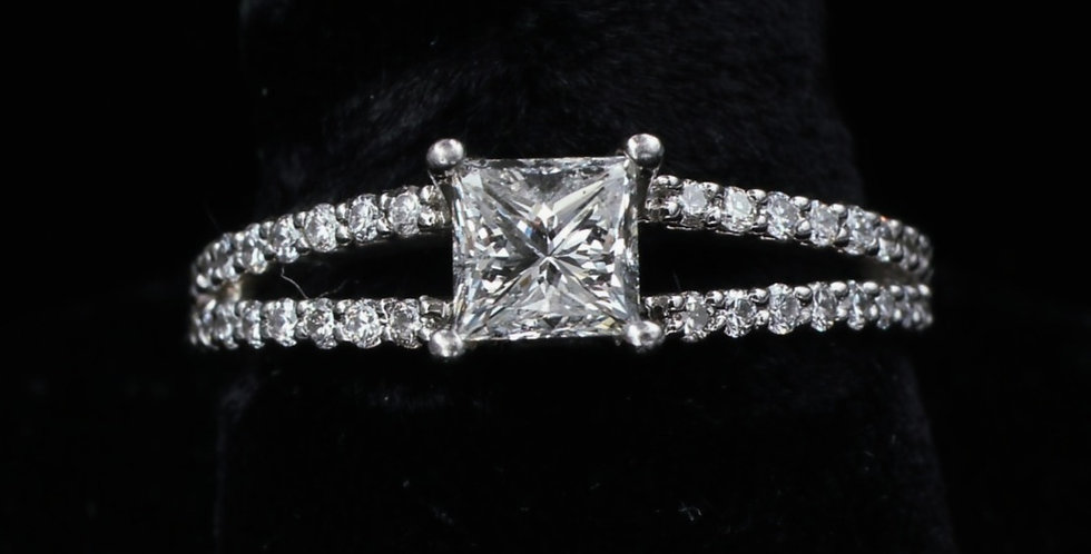 Platinum .75 Carat & .50 Carat Diamond Ring