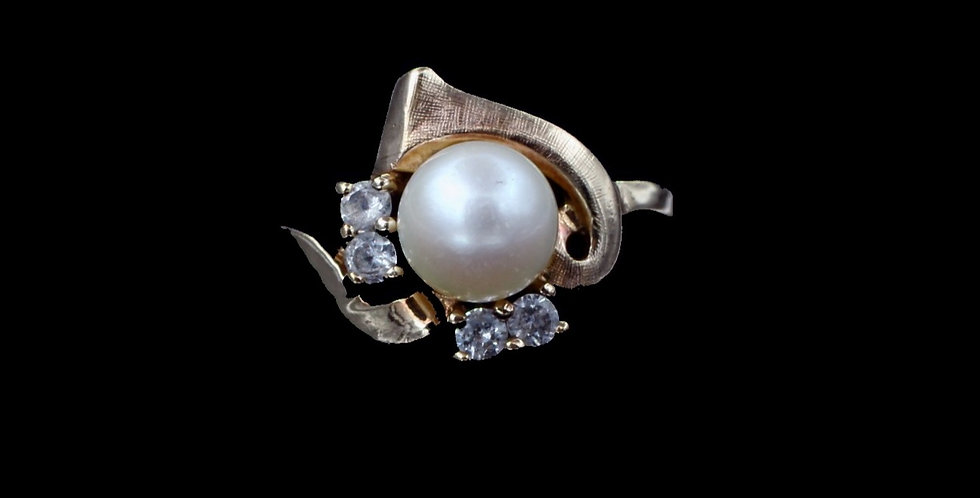 10K Yellow Gold Pearl & Colorless Cubic Zirconia Ring