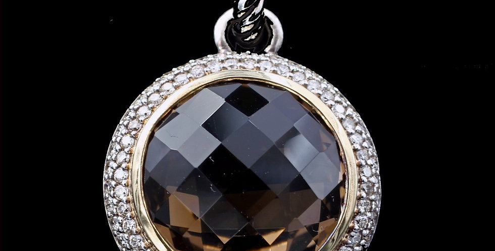 David Yurman Pendant or Enhancer with Diamonds and Smokey Quartz