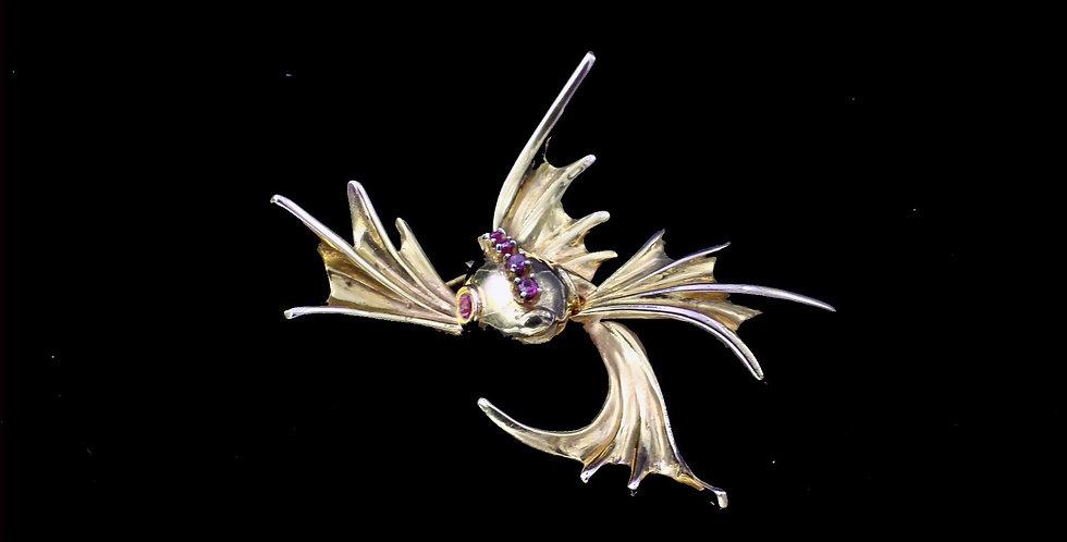 10K  Vintage Ruby Fish Brooch