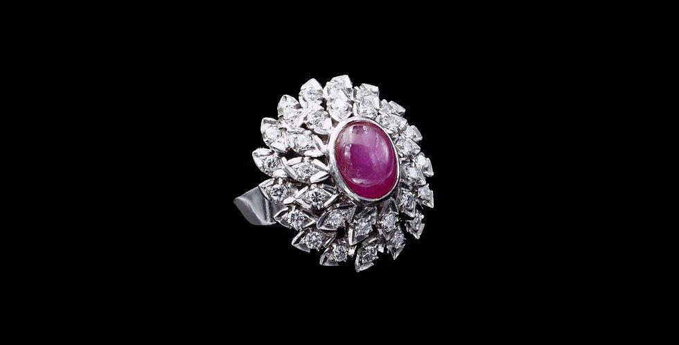 14K White Gold Star Ruby & Diamond Ring