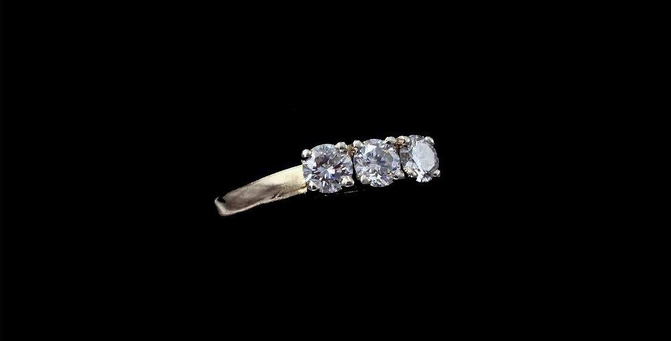 14K .75 Carat Total Weight  Three Diamond Ring