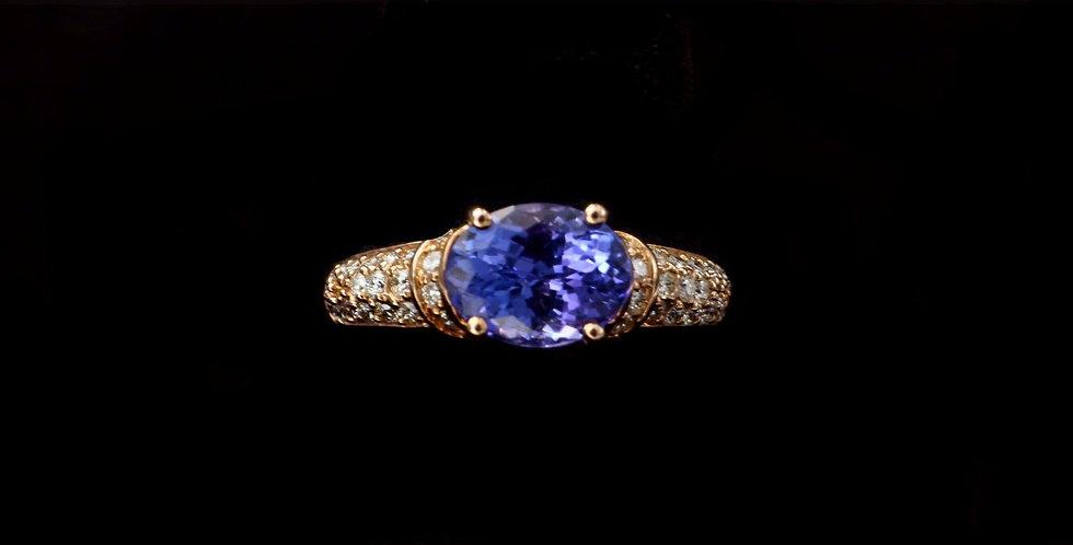 14K Rose Gold Tanzanite & Diamond Ring