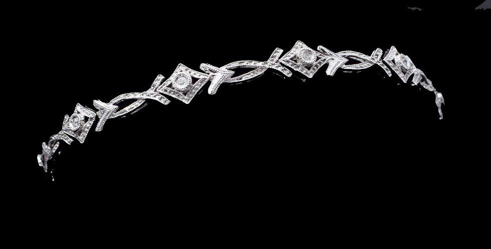 14K White Gold Filigree Style Diamond Bracelet