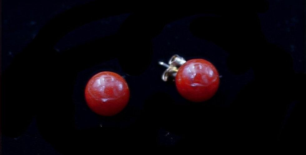 14K Yellow Gold Carnelian Pierced Earrings