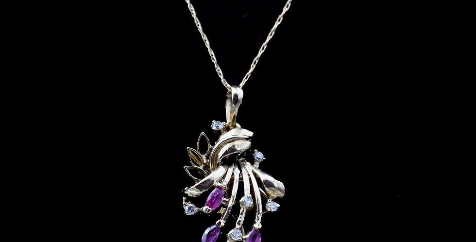 14K Ruby & Diamond Necklace