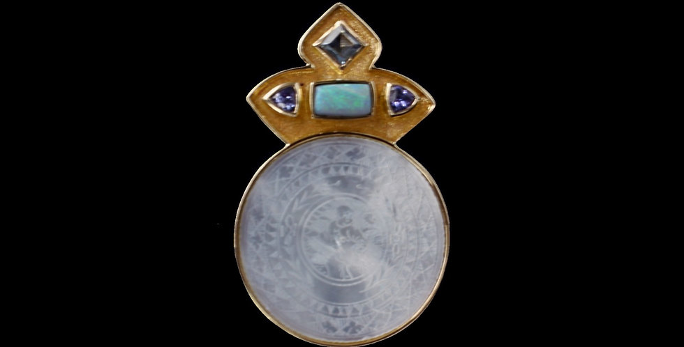 14K Enhancer Style Pendant With Mother of Pearl, Opal, and Tanzanite