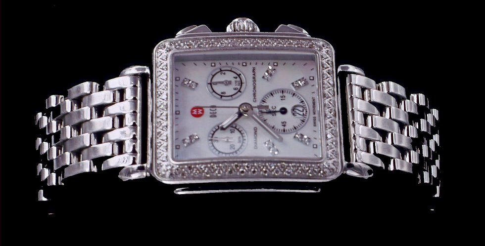 Michele Watch Stainless Steel .66 Carats Diamonds