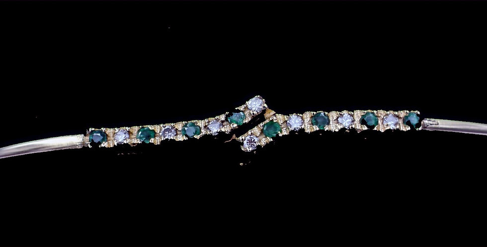 14K Emerald Diamond Vintage Bracelet/Bangle