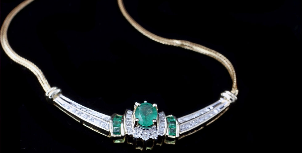 10K Yellow & Whit Gold Emerald & Diamond Necklace